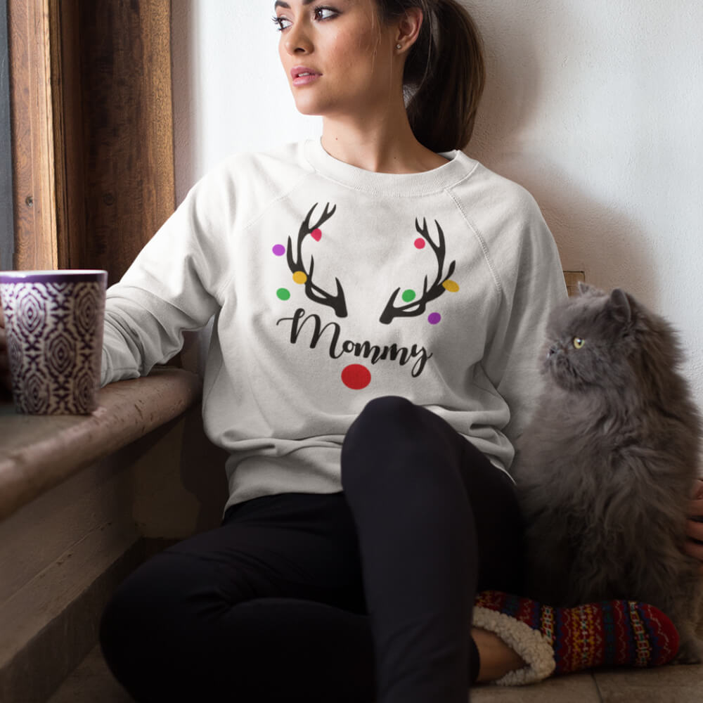 Custom Sweatshirt Mommy Reindeer | Artistshot