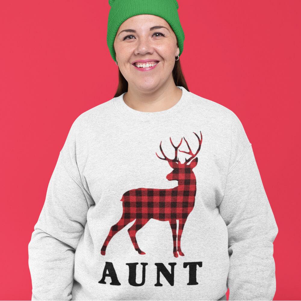 Custom Sweatshirt Reindeer Christmas Family Aunt | Artistshot