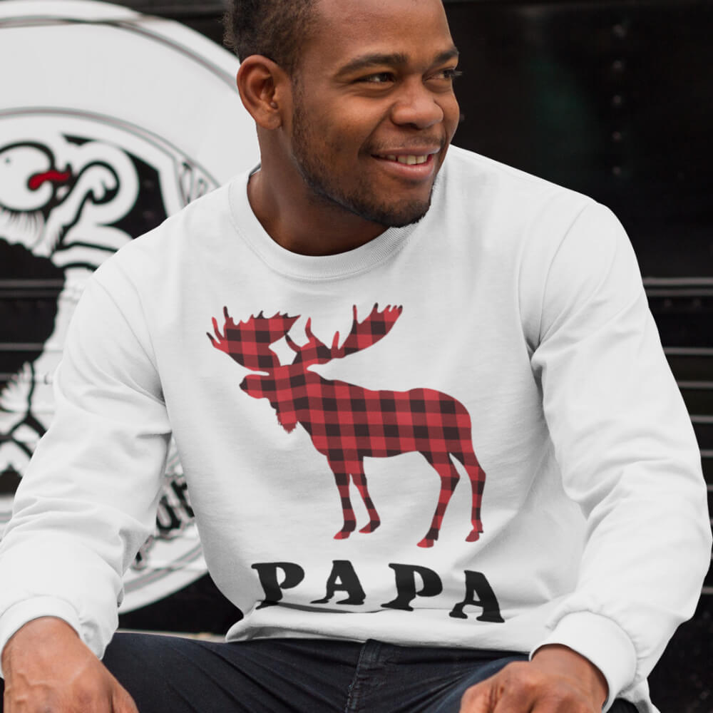 Custom Sweatshirt Reindeer Christmas Family Papa | Artistshot