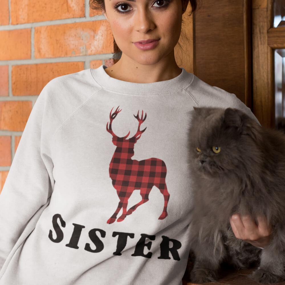 Custom Sweatshirt Reindeer Christmas Family Sister | Artistshot