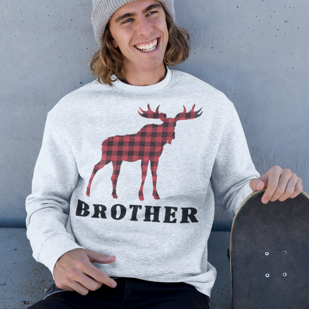 Custom Sweatshirt Reindeer Christmas Family Brother | Artistshot