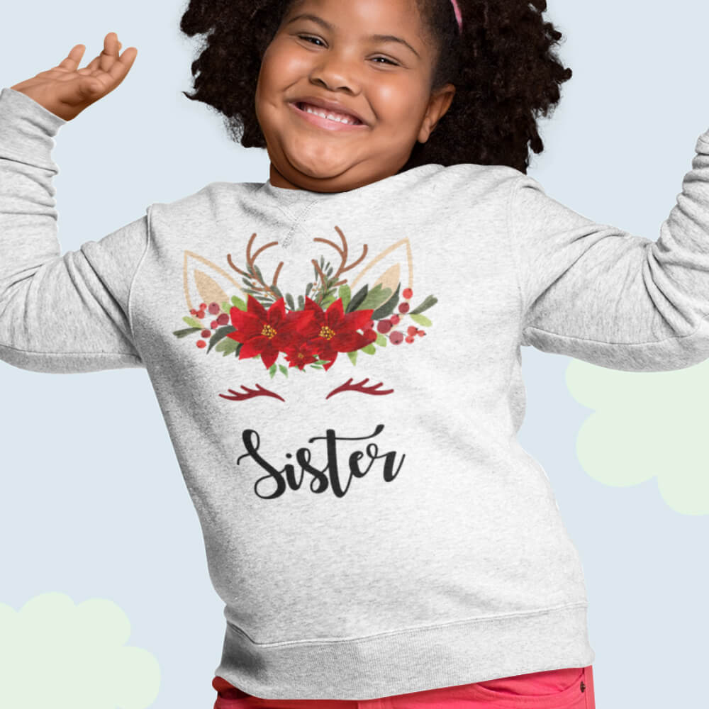 Custom Sweatshirt Sister Christmas Unicorn | Artistshot