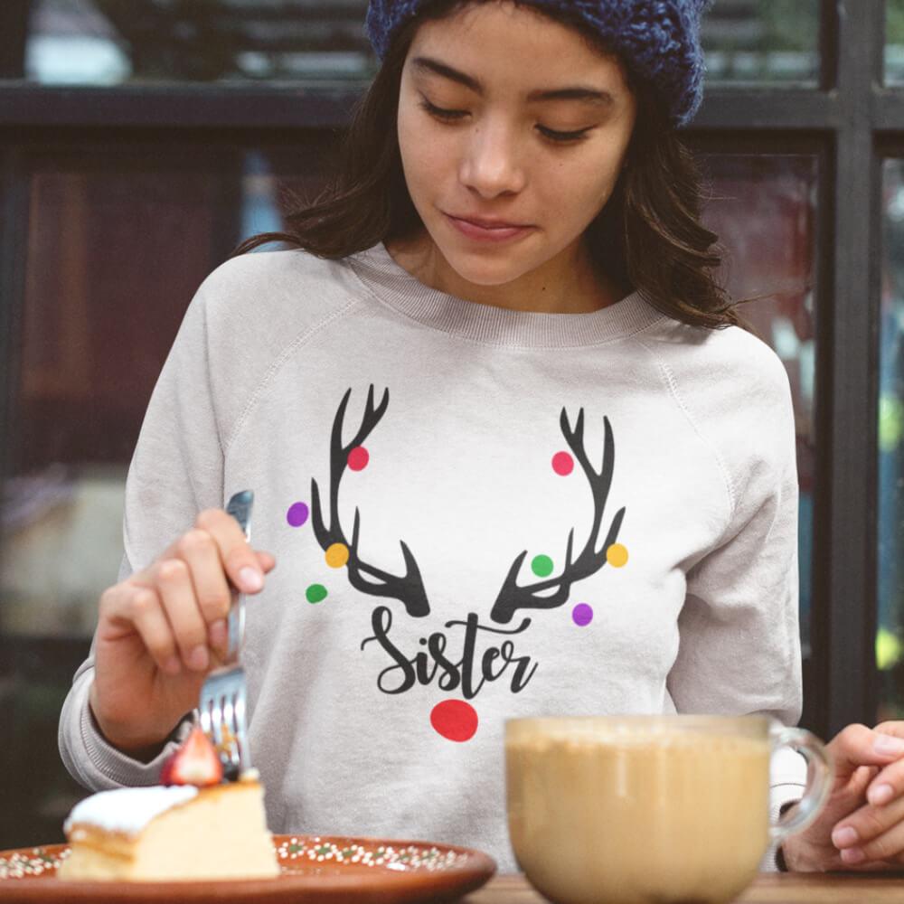 Custom Sweatshirt Sister Christmas Reindeer | Artistshot