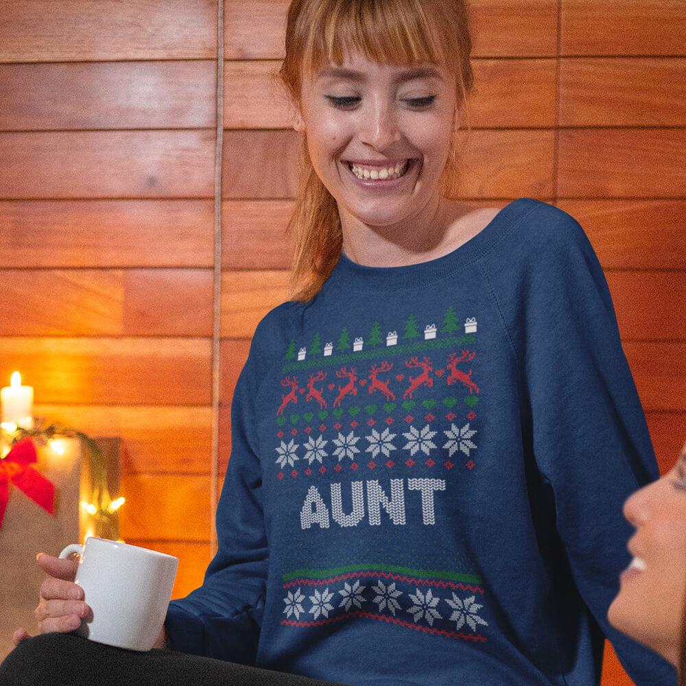 Custom Sweatshirt Ugly Christmas Aunt | Artistshot