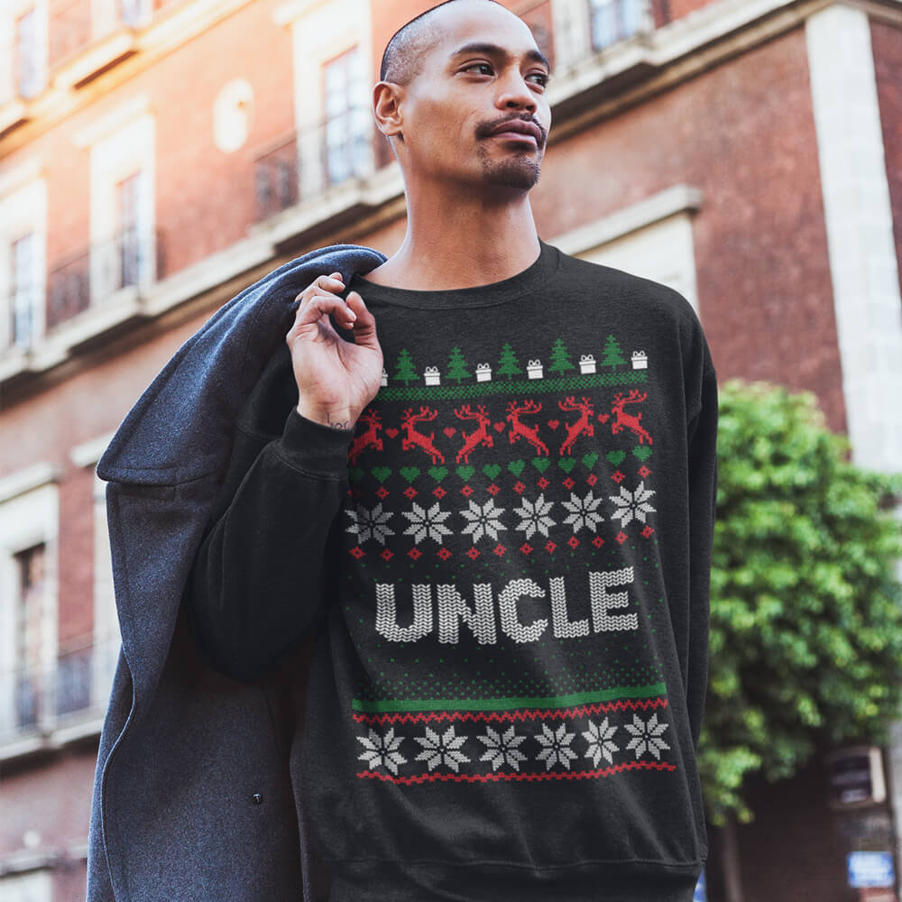 Custom Sweatshirt Ugly Christmas Uncle | Artistshot