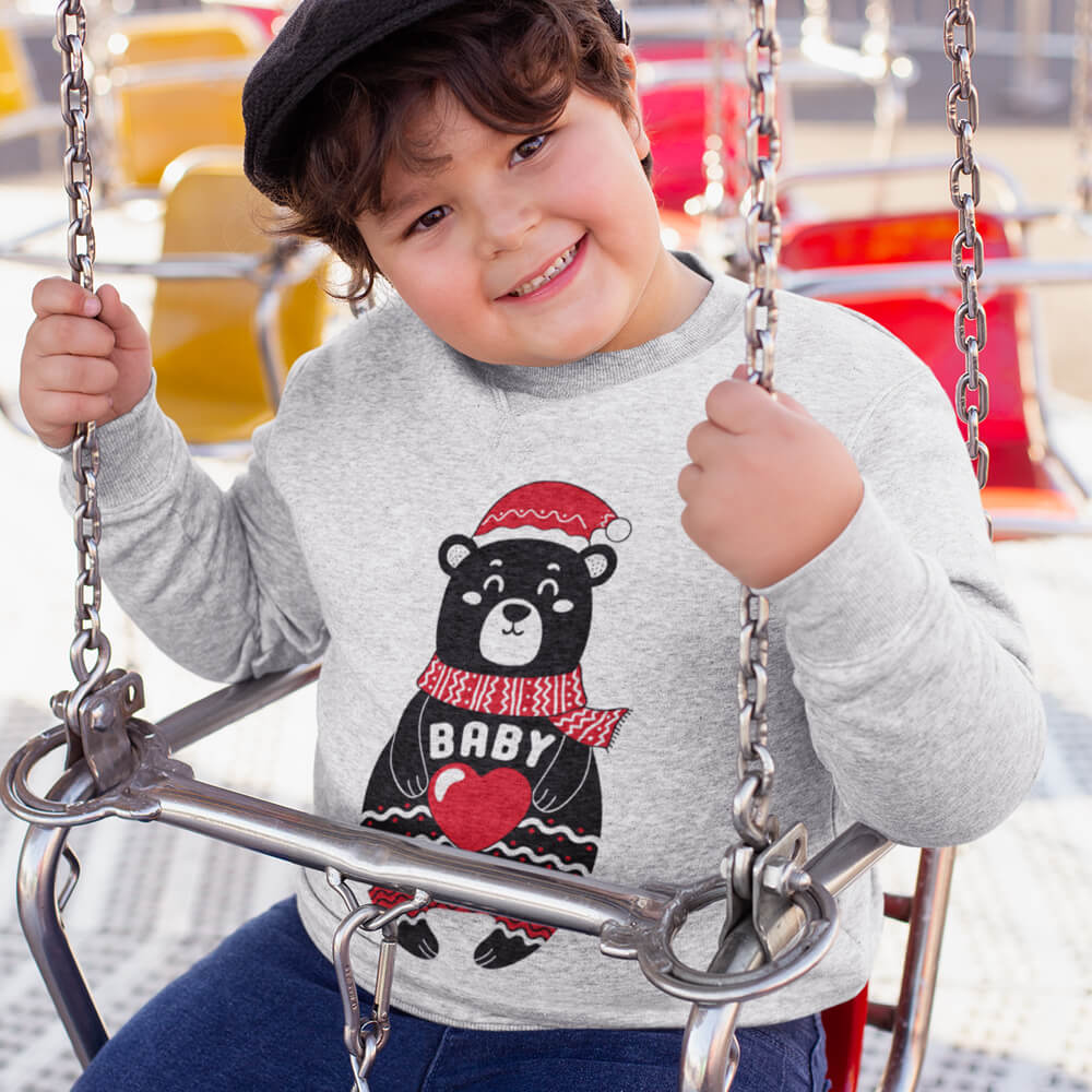 Custom Sweatshirt Boho Christmas Bear Family Matching Baby Add Your Text Here | Artistshot