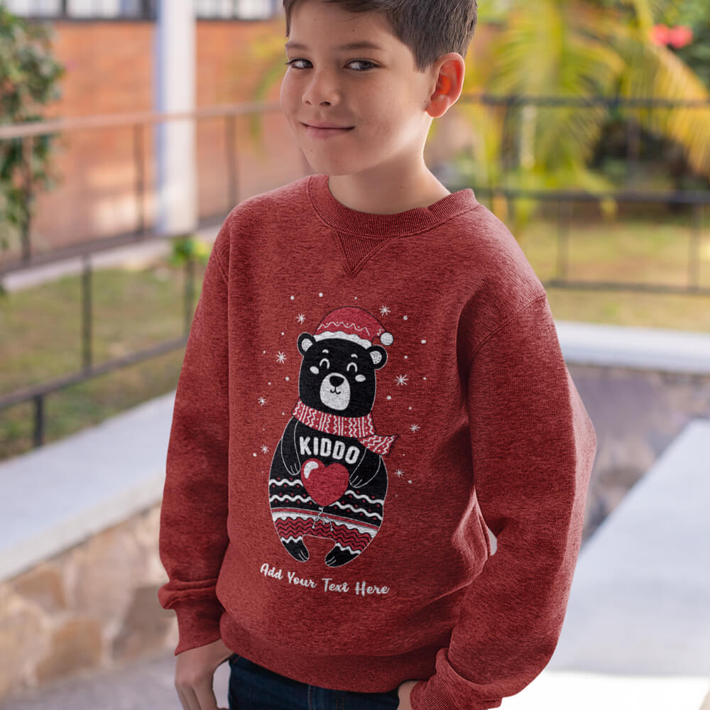 Custom Sweatshirt Boho Christmas Bear Family Matching Kiddo Add Your Text Here | Artistshot