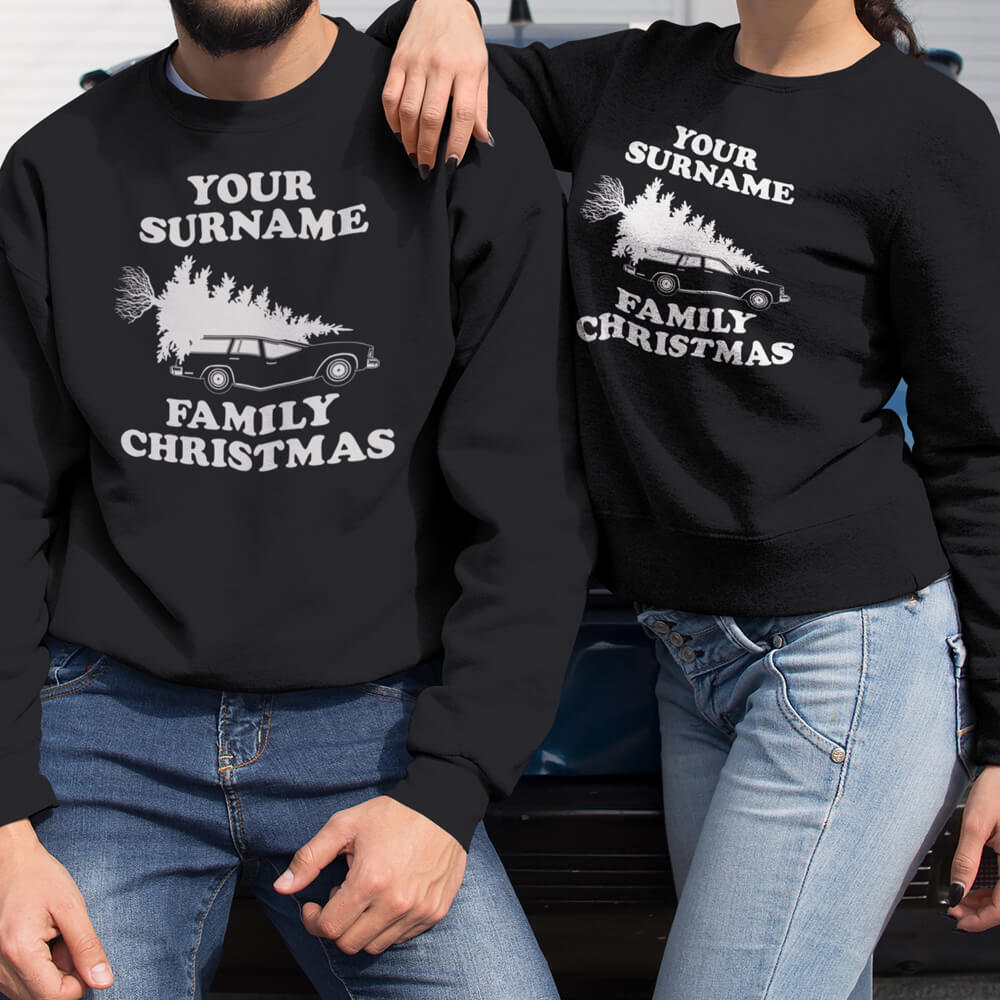 Custom Sweatshirt Elf Surname Family Christmas | Artistshot
